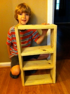 Jack builds his first shelf