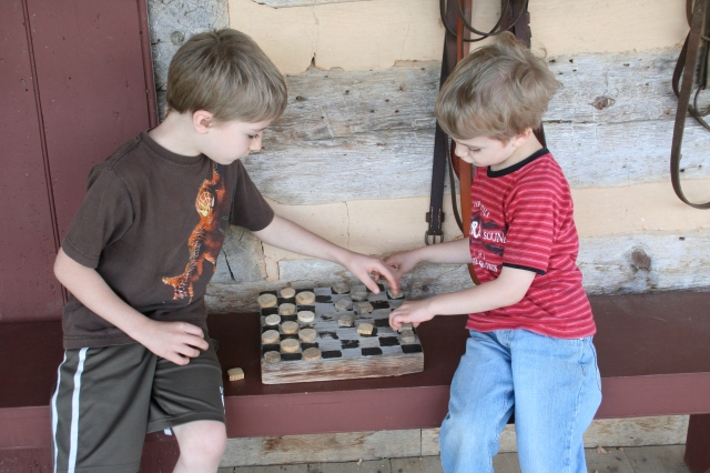 Jack and Gabriel at checkers.