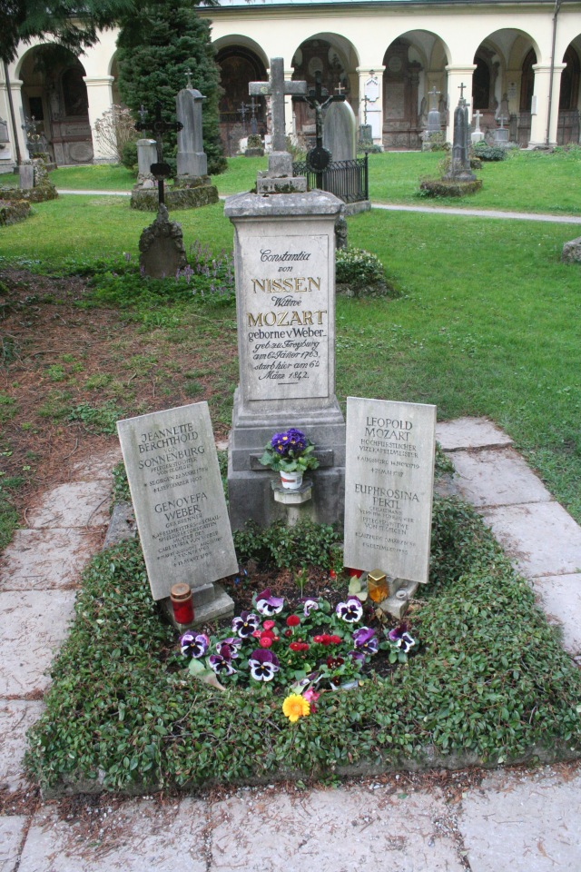 The gravesite of Mozart's wife at St Sebastian's Cemetery.