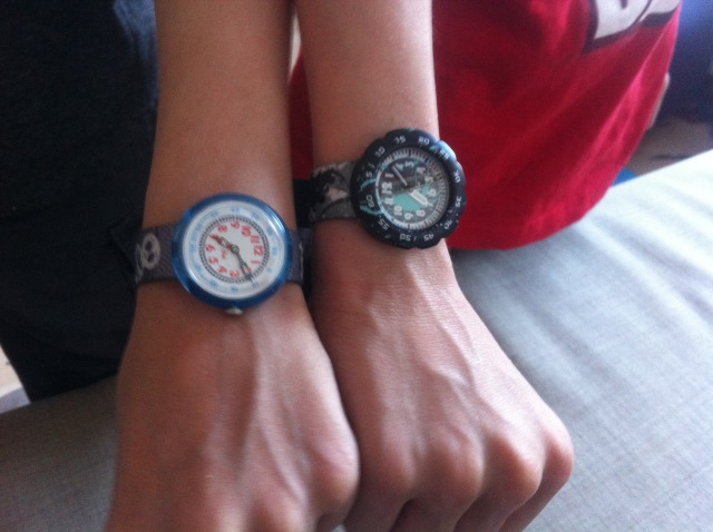 They got long awaited for watches for their birthday from us and they wear them proudly.
